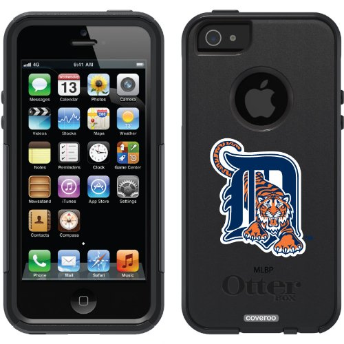 Special Sale Detroit Tigers - D with Tiger design on a Black OtterBox® Commuter Series® Case for iPhone 5s / 5