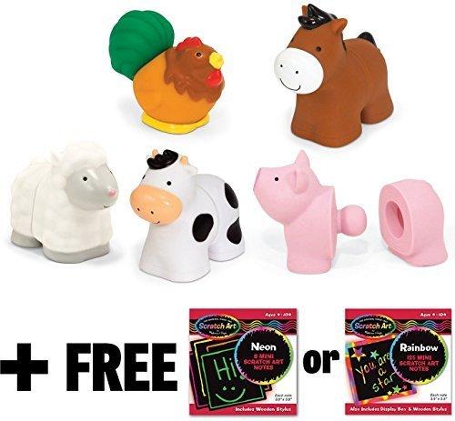 K's Kids Pop Blocs Farm Animals + FREE Melissa & Doug Scratch Art Mini-Pad Bundle [91961]