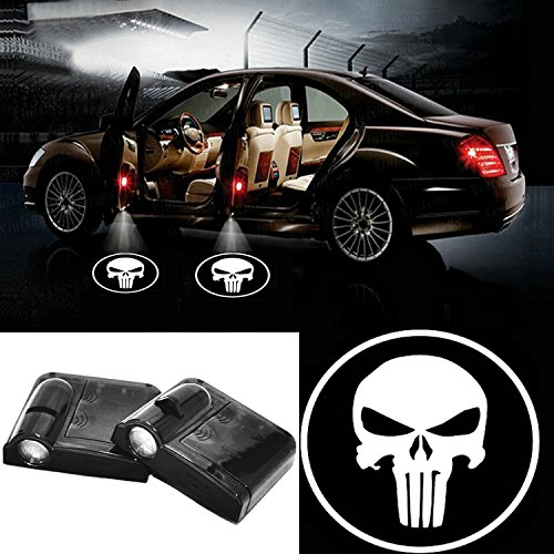 2 Pcs Wireless Led Car Door Projector Lights Auto Courtesy Welcome Logo Shadow Lamp - White Skull