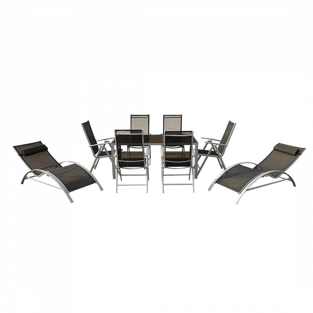 Aluminium Gartenmöbel Set – Tisch 160cm – 6 Stühle – 2 Liegestühle – Gartentisch – CATANIA jetzt kaufen