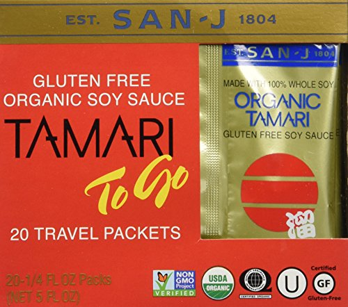 San-j Organic Tamari Gluten Free Soy Sauce Travel Packs 20x1/4fl.oz (San J Soy Sauce compare prices)