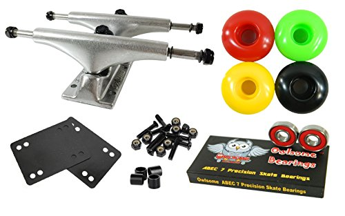 Owlsome 5.0 Polished Aluminum Skateboard Trucks w/ 52mm Wheels Combo Set (Rasta) (Rasta Bushings compare prices)