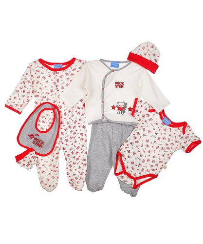 "Duck Duck Goose Girls ""Rock Star"" 8-Piece Layette Set (Sizes 0M - 9M) - red/white, 0 - 3 months"