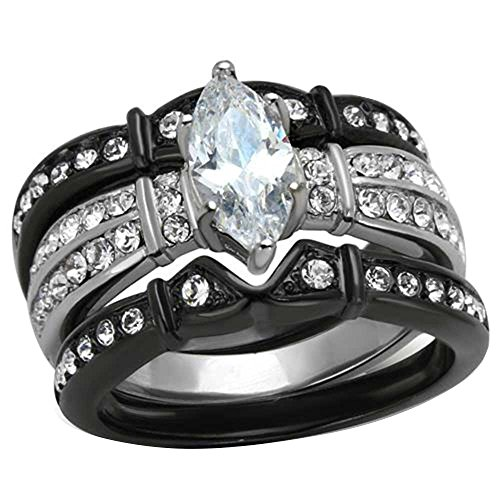 Black Stainless Steel Marquise Cubic Zirconia Wedding Ring Set Women Size 5-11 SPJ
