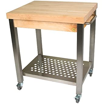 Cucina Americana Technica Kitchen Cart with Butcher Block Top Counter