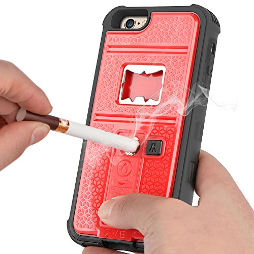 iPhone 6s Case, ZVE® Multifunctional Cigarette Lighter Cover for iPhone 6 Built-in Cigarette Lighter/Bottle Opener/Camera Stable Tripod/Shockproof Case (Red-iPhone 6 4.7)