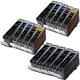 2 Sets + 5 Canon PGI-5 Black = 15 Canon PGI-5 / CLI-8 Compatible Printer Ink Cartridges for Canon Pixma iP3300 iP3500 iP4200 iP4300 iP4500 iP5200 iP5200R iP5300 ix4000 ix5000 MP500 MP510 MP520 MP530 MP600 MP600R MP610 MP800 MP800R MP810 MP830 MP950 MP960
