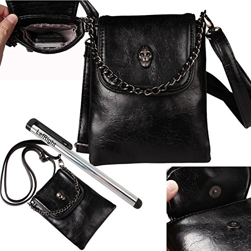 LefRight TM Soft Touch Navy Skull Outfit Travel Universal PU Leather Wallet Cross Pouch Bag Shoulder Strap For iPhone 6 iPhone 6 Plus