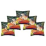 FURNISHING KINGDOM Velvet 5 Piece Cushion Cover Set - Multicolor, 16 X 16 Inch