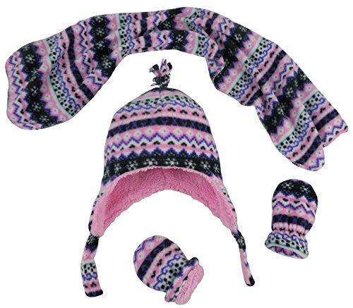 N'Ice Caps Girls Sherpa Lined Fair Isle Printed Fleece Hat/Scarf/Mitten Set (6-18 Months, Black Fair Isle - Infant)