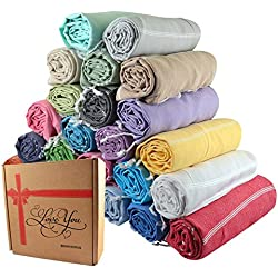 Sale Set of 6 XL Turkish Cotton Bath Beach Spa Sauna Hammam Travel Yoga Gym Yacht Hamam Towel Wrap Pareo Fouta Sarong Peshtemal Pestemal Blanket,Unisex Yellow,Grey,Light Green,Pink,Blue,Turquoise,Purple Worth 120USD