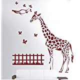 Hoopoe Decor Giraffe With Butterfly Wall Stickers And Wall Decals, A Wall Art Best For Home Decoration - B00UU1EPQO