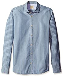 Rosé Pistol Men's Long Sleeve Victorville Striped Shirt, Bay Blue, S