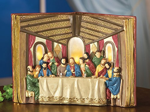 Lighted Open Bible Last Supper Tabletop Sculpture