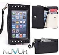 Black  Expose  Wristlet Cover Wallet Phone Case Fits LG Optimus Dynamic L38C + NuVur ™ Key…