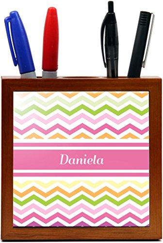 """Rikki Knighttm """"Daniela"""" Pink Chevron Name Design 5 Inch Tile Wooden Tile Pen Holder front-625420"""