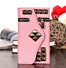 myLife (TM) Bubble Gum Pink with Bronze Studs {Glamorous Design} Faux Leather (Card, Cash and ID Holder + Magnetic Closing + Hand Strap) Slim Wallet for the iPhone 5C Smartphone by Apple (External Textured Synthetic Leather with Magnetic Clip + Internal Secure Snap In Hard Rubberized Bumper Holder)