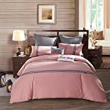 LOVO Relaxing Time 100% Cotton 300-Thread-Count 3-Piece Bedding Set 1-Piece Duvet Cover and 2-Piece Pillow Covers PINK KING Size