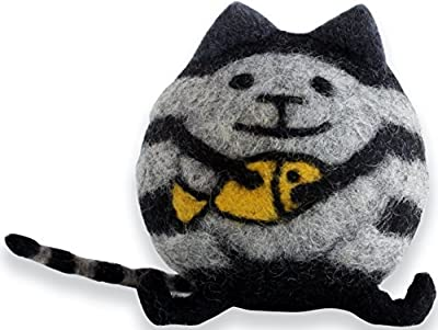 Soft Felt Toys, Pixie Cat Black Handmade Soft Toys Made with Finest Organic Merino Wool, Novelty Vibrant & Eye-Catching Gifts - Ideal for Nursery, Kids, Room, Home, Office & Car Decoration - Great Kids & Adults' Birthday or Christmas Gift