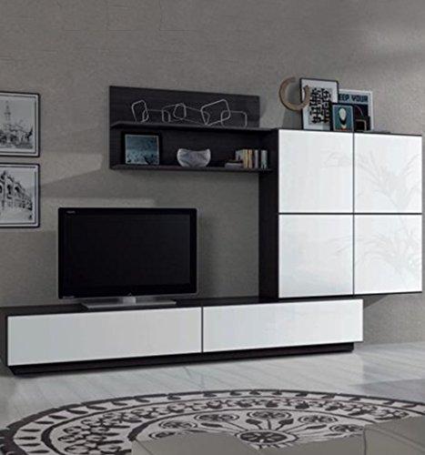 Parete attrezzata soggiorno mensole pensile base TV arredo casa design 026665MT