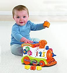 Ginzick Battery Operated Bump and Go Learn Shape Sorter Abc Train