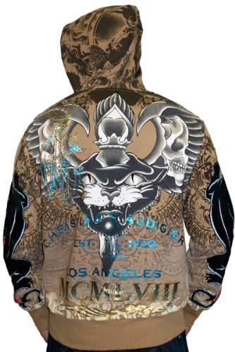 CHRISTIAN AUDIGIER Ed Hardy Mens Tattoo Panther Skull Hoodie Hooded