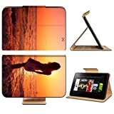 Amazon Kindle Fire HD 8.9 Flip Case Young woman in summer dress standing on a rock and looking to a sea IMAGE 10676208 by MSD Customized Premium Deluxe Pu Leather generation Accessories HD Wifi Luxury