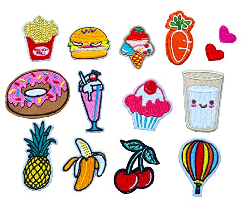 Discover Bargain 14 Pcs Iron On Embroidered Applique DIY Decoration Patch Set - Hamburger French Fri...