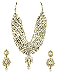 Bridal Jewellery Set Pearl Colored Seven Line Drop Shaped Reverse AD Necklace Set
