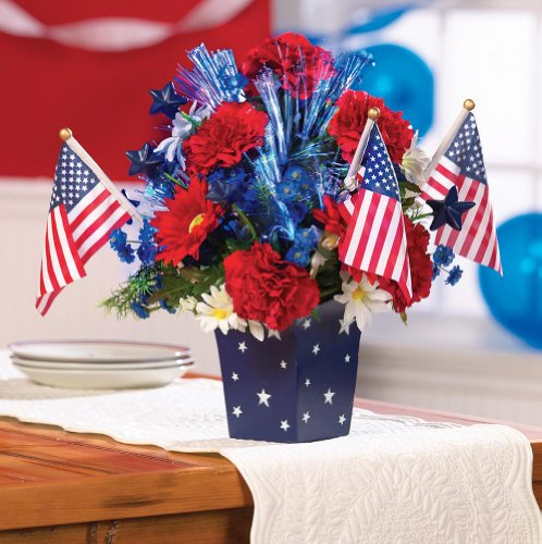 Patriotic Fiber Optic Lighted Color Changing Americana Floral Centerpiece Decoration Colorful Flower 4Th Of July Memorial Independence Day Red White Blue Stars Stripes Flag Decor front-1019084