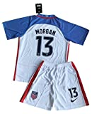 2016/2017 Alex Morgan #13 USA National Home Jersey with Shorts for Kids/Youth (Age 7-8)