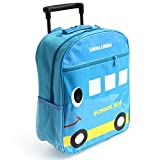 LINDA LINDA Kids Trolley Wheel Luggage Backpack Bag Blue Car