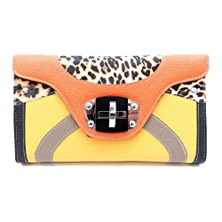 Designer Inspired Beatty Clutch/Handbag - Yellow/Orange