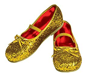 Rubie's Costume Gold Glitter Child Flat Shoes