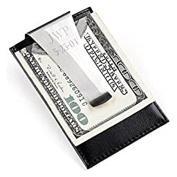 Personalized Top Grain Leather Credit Card Wallet Holder And Engraved Metal Money Clip
