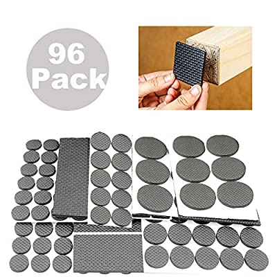 ANDYWE Lightweight Anti-slip Rubber Pads,Heavy Duty Adhesive Furniture Leg Pads - Soft Floor Protector without scratches for Tiled, Laminate, Wood Flooring, Chair leg covers - 96 Pieces