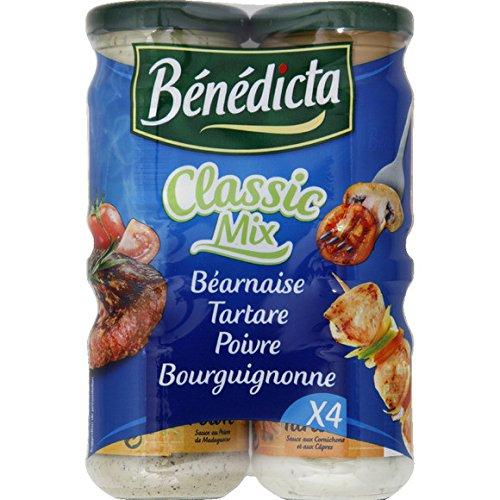Bénédicta - Assortiment de sauces, béarnaise, tartare, cocktail et bourguignonne - Les 4 pots, 330g - (pour la quantité plus que 1 nous vous remboursons le port supplémentaire)
