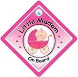 Little Madam on Board Sign Pink Buggy Baby On Board Car Sign Baby on Board Decal Bumper Sticker Baby Sign Baby Car Sign Baby on Board Sign