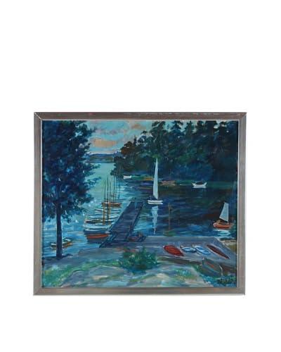 Sailboats On The Pier Framed Artwork
