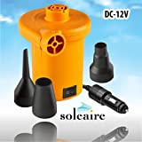 Soleaire SA-102 Electric Air Pump Powerful Handheld 12V DC Air Pump Inflator Deflator Pump Tube Pump, Raft Pump. Mattress Pump Best Portable Electric Air Pump To Keep In Car For All Inflatables
