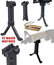 Ledsniper®action Bipod Handle High Qulity Polymer Bipod Holding System with Side P-i-c-t-i-n-n-y System for Mounting Laser or Flashlight or Others, with Steel Insert Push Out Legs