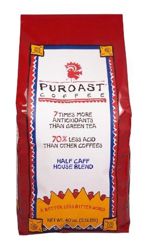 Puroast Low Acid Coffee Half Caff House Blend Whole Bean, 2.5-Pound Bag
