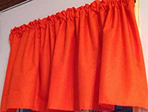 bright orange window curtain valance handmade. Black Bedroom Furniture Sets. Home Design Ideas