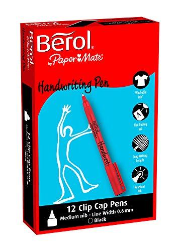Paper Mate Berol Handwriting Pen - Paquete de 12 bolígrafos de tinta gel, negro