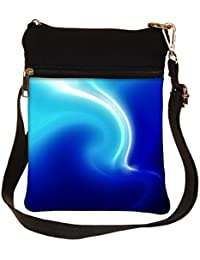 Snoogg White And Blue Design Cross Body Tote Bag / Shoulder Sling Carry Bag
