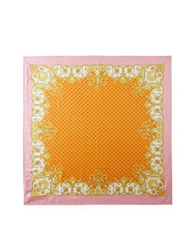 Versace Women's Floral Frame Silk Scarf, Pink/Orange/Gold