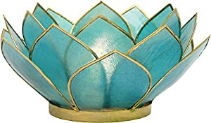 Luna Bazaar Turquoise Blue 3-Layer Capiz Lotus Candle Holder (gold edged)