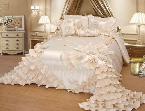 "Octorose ® Royalty Oversize Wedding Bedding Bedspread Quilts Set (Cream, Queen(102X110""Wxl))"