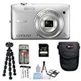 Nikon COOLPIX S3500 20.1 MP Digital Camera (Silver) + 16GB SDHC Memory Card+ Camera Case + Accessory Kit