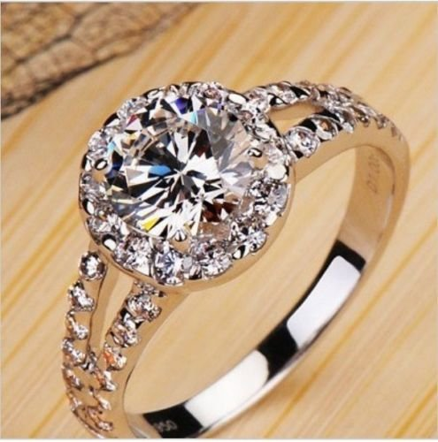 2.00 Carat Vvs1 Nscd Diamond Engagement Ring in 18k Gold Over Silver 2.00 Carat Vvs1 Nscd Diamond